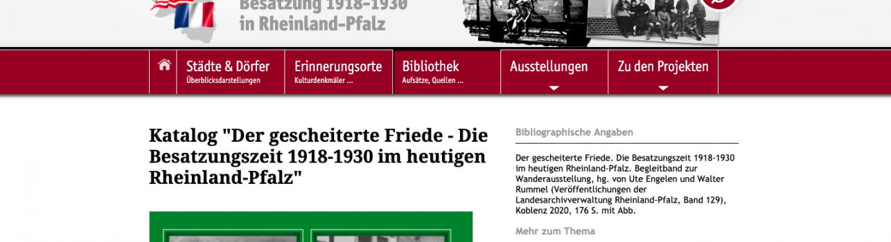 Wanderausstellung: Der gescheiterte Friede. Die Besatzungszeit 1918-1930 im heutigen Rheinland-Pfalz
