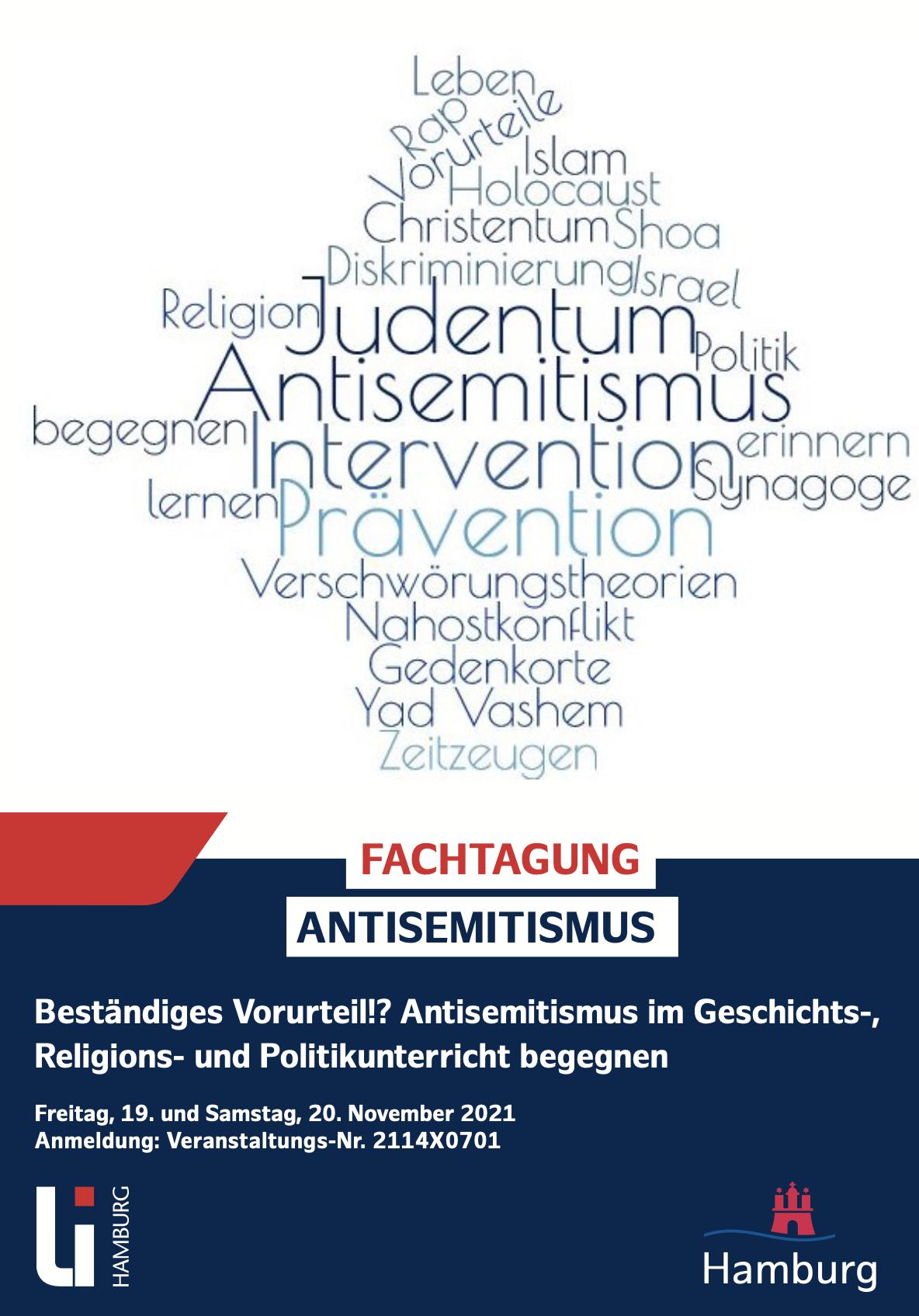"""Online-Fachtagung Antisemitismus """"Beständiges Vorurteil?! am 19. und 20. November 2021"""